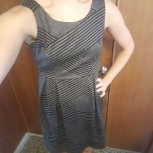 Black and gray linear dress
